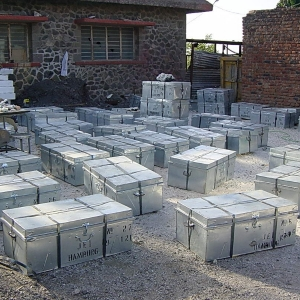 Large container order of Scolecite packed in Metal Trunks